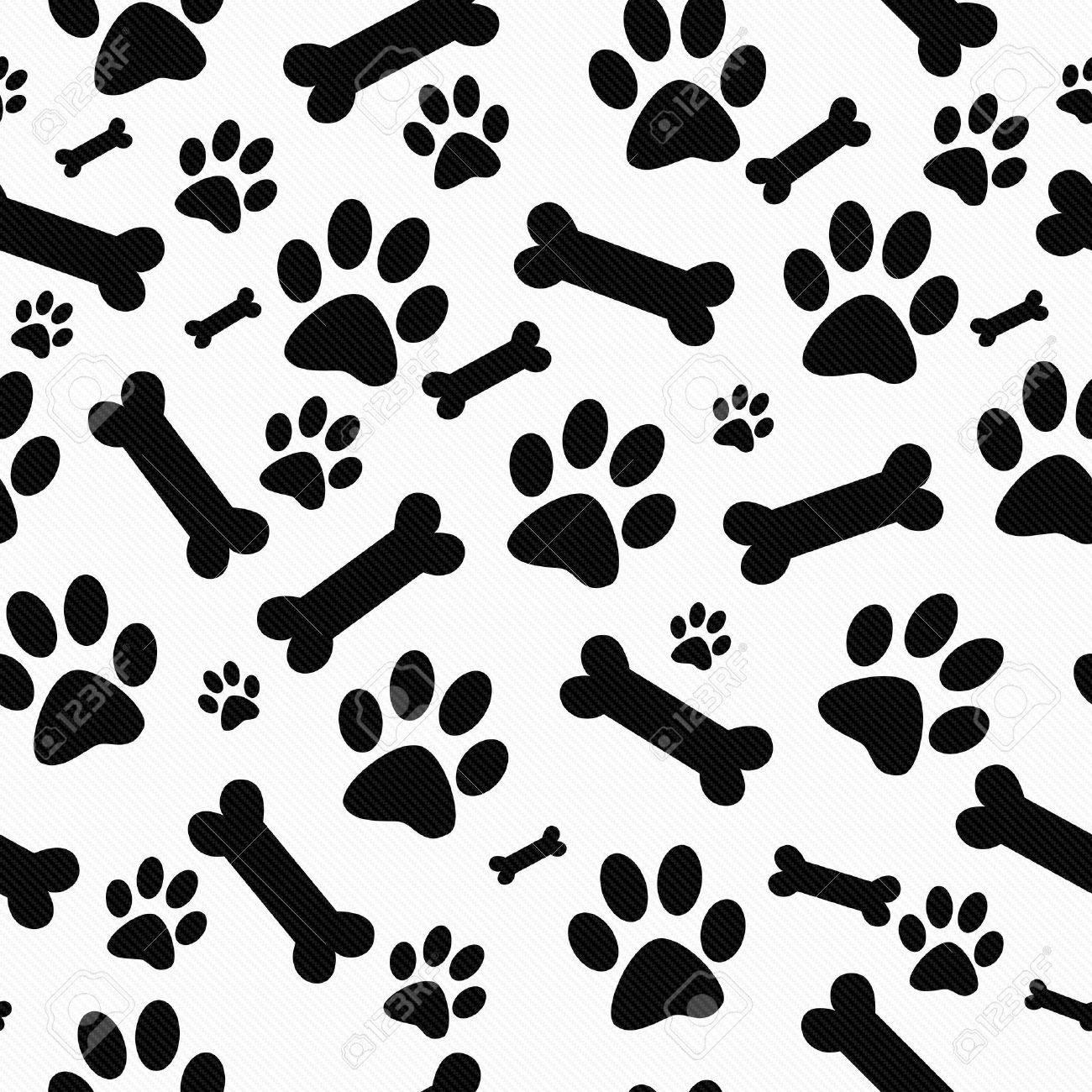 Empreinte Patte De Chien noir et blanc empreintes de pattes de chien et os carreaux motif