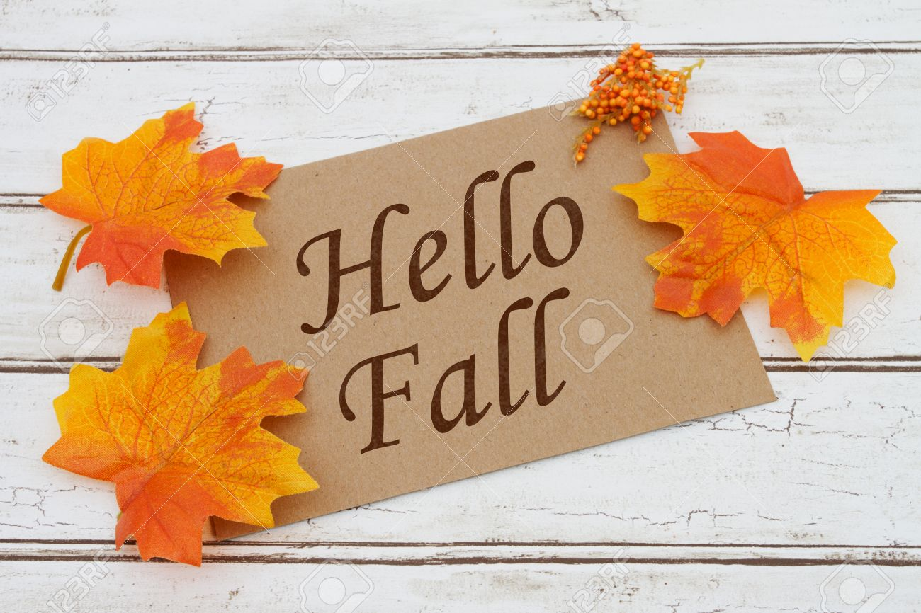 Hello Fall Card, A Brown Card With Words Hello Fall Over A Distressed Wood  Background