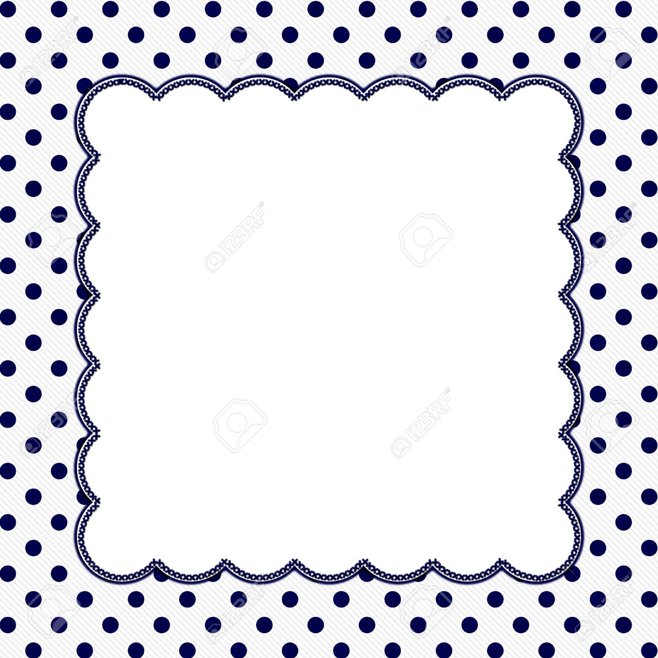Navy Blue and White Polka Dot Frame with Embroidery Stitches
