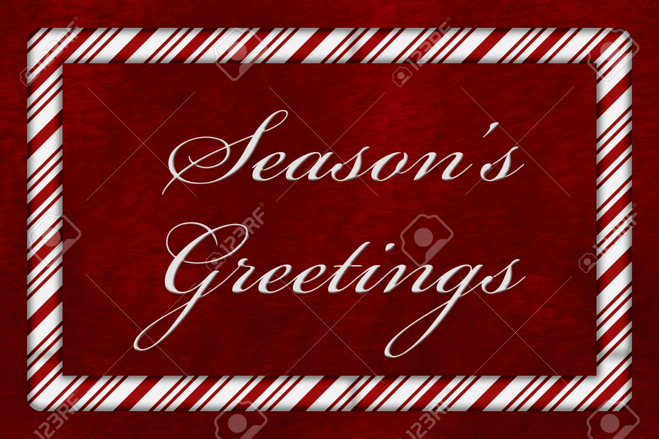A seasons greetings message a candy cane border with the words a seasons greetings message a candy cane border with the words seasons greetings over red m4hsunfo