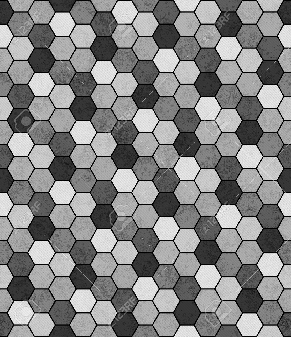Gray, Black And White Hexagon Mosaic Abstract Geometric Design ...