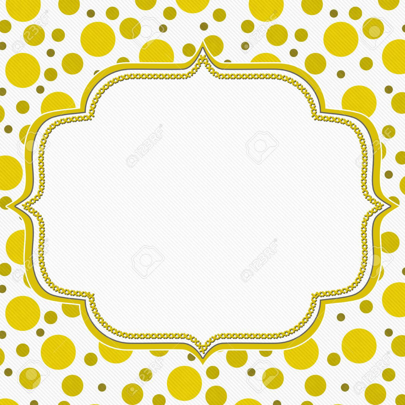 Yellow And White Polka Dot Frame With Embroidery Stitches Background ...