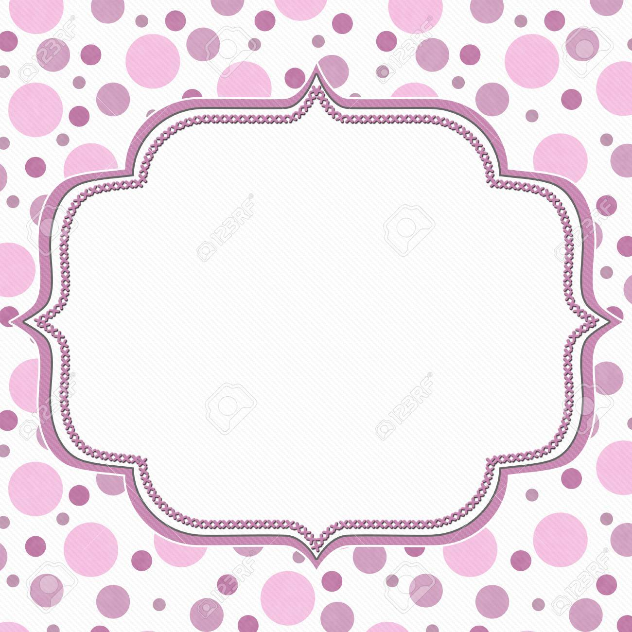 Pink And White Polka Dot Frame With Embroidery Stitches Background ...