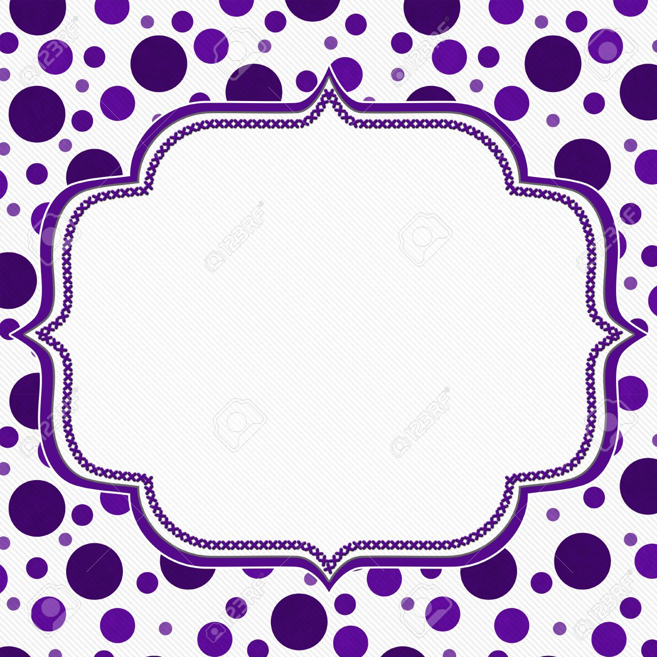 Purple And White Polka Dot Frame With Embroidery Stitches Background ...