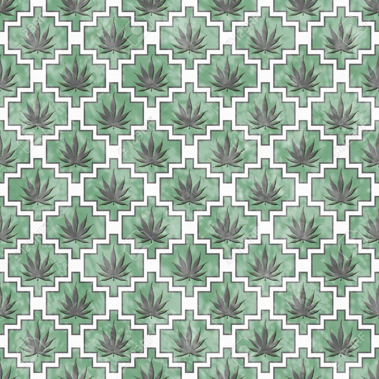Grun Grau Und Weiss Marihuana Fliesen Muster Lizenzfreie Fotos