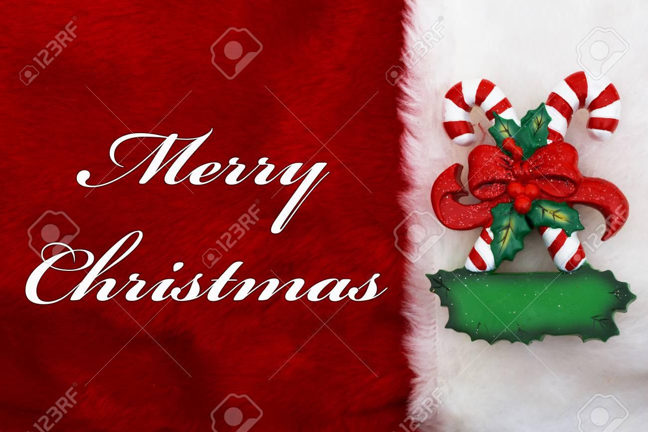 Frohe Weihnachten, Ein Plüsch-rote Strumpf Mit Zuckerstangen Und ...