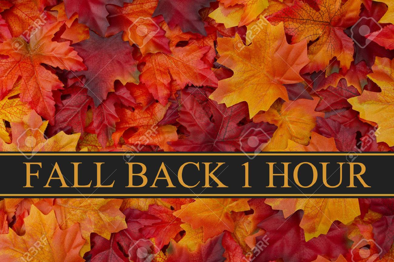 Fall Leaves Background and text Fall Back 1 Hour - 53466271