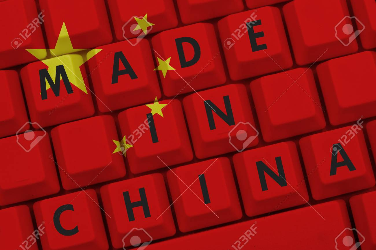 Made In China The Chinese Flag On A Computer Keyboard With Text