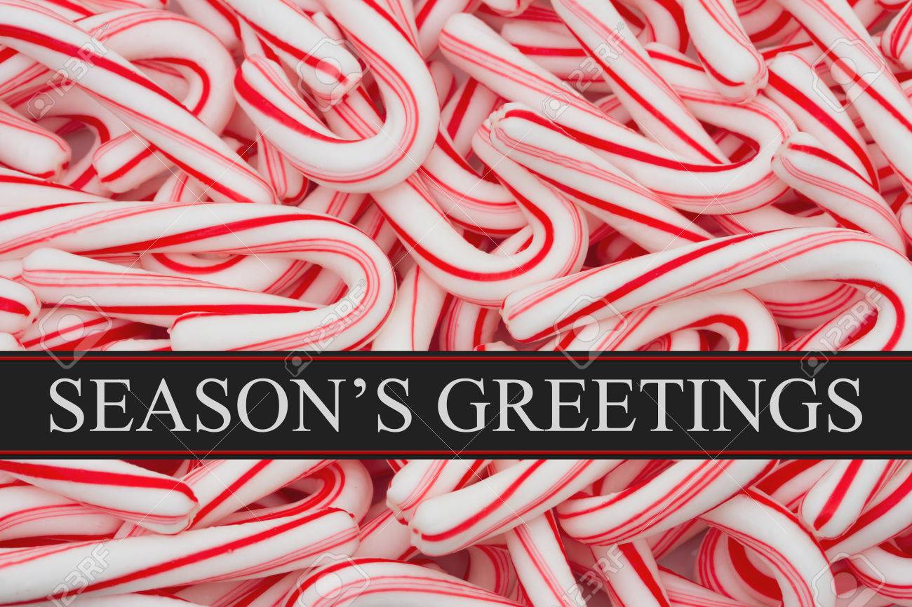 Seasons Greeting Message Candy Cane Background And Text Seasons