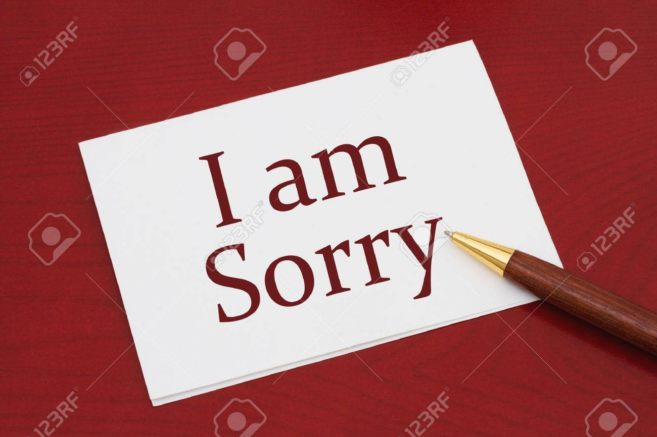 i am sorry card white greeting card with text i am sorry on stock