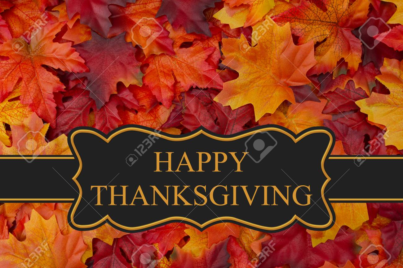Happy Thanksgiving Greeting Fall Leaves Background And Text Stock