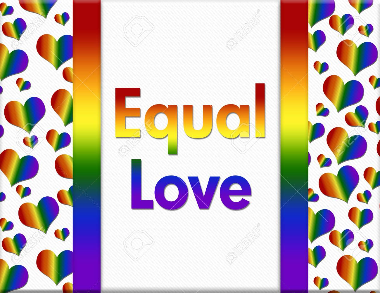 Lgbt Equal Love Message A Multicolored Frame With Words Equal Love And Lgbt Pride Colored