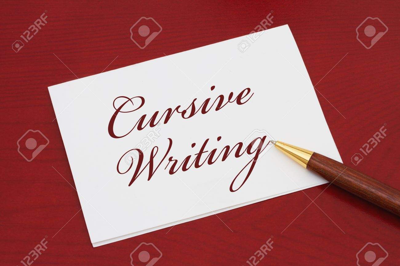 Learning How To Write Cursive White Greeting Card With Text Stock