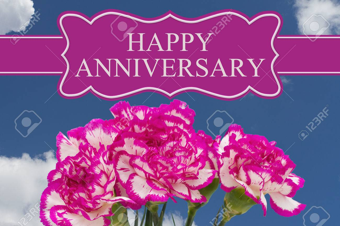 Happy Anniversary Greeting With A Pink And White Peony Bouquet Stock Photo Picture And Royalty Free Image Image 64737161
