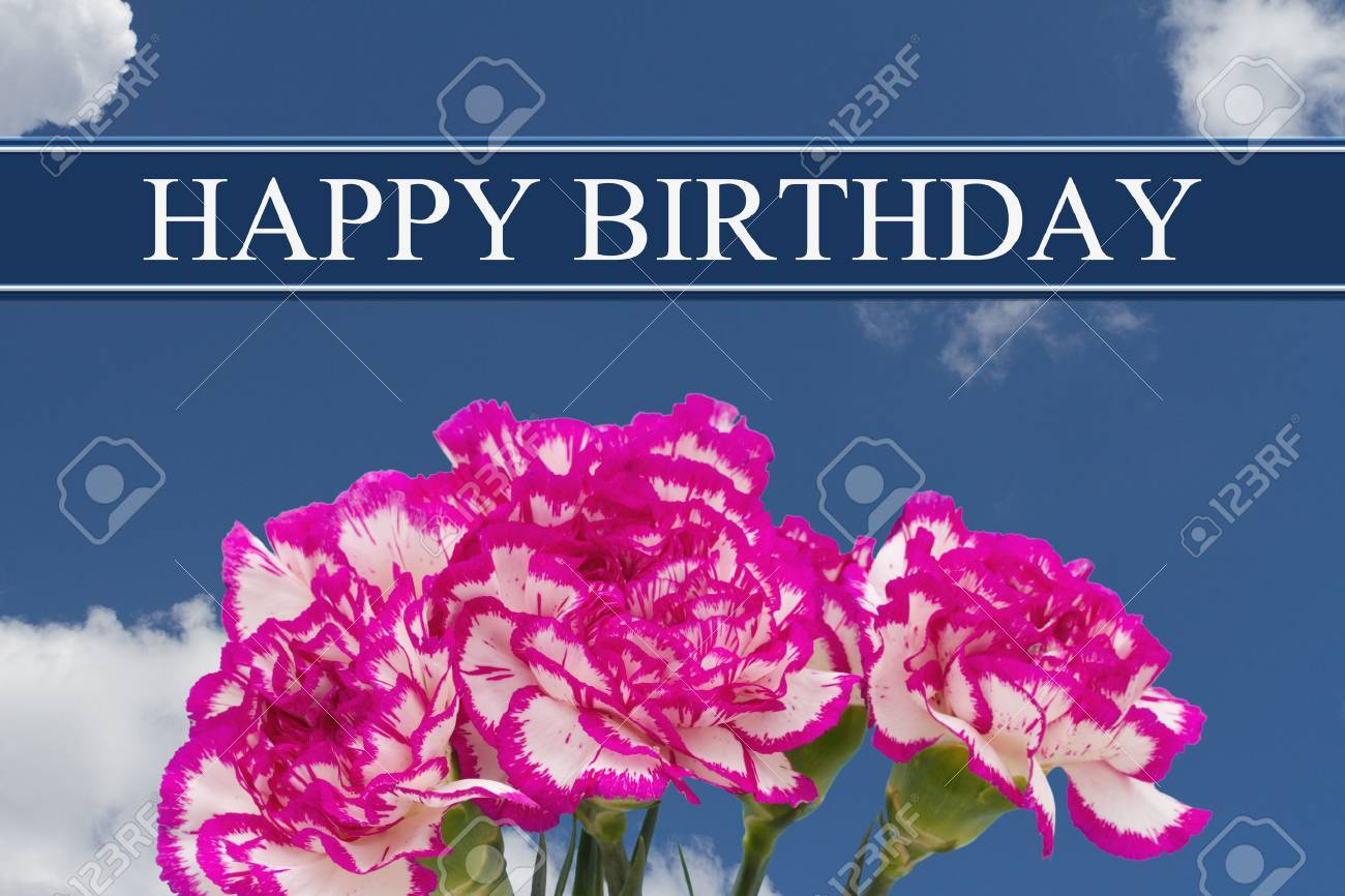 Happy Birthday Greeting With A Pink And White Peony Bouquet Sky Background Stock Photo