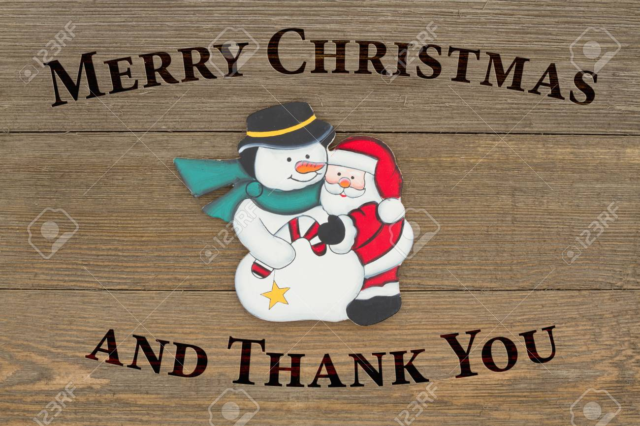 Alte Mode Weihnachtsgruß, Ein Retro-Schneemann Und Weihnachtsmann ...