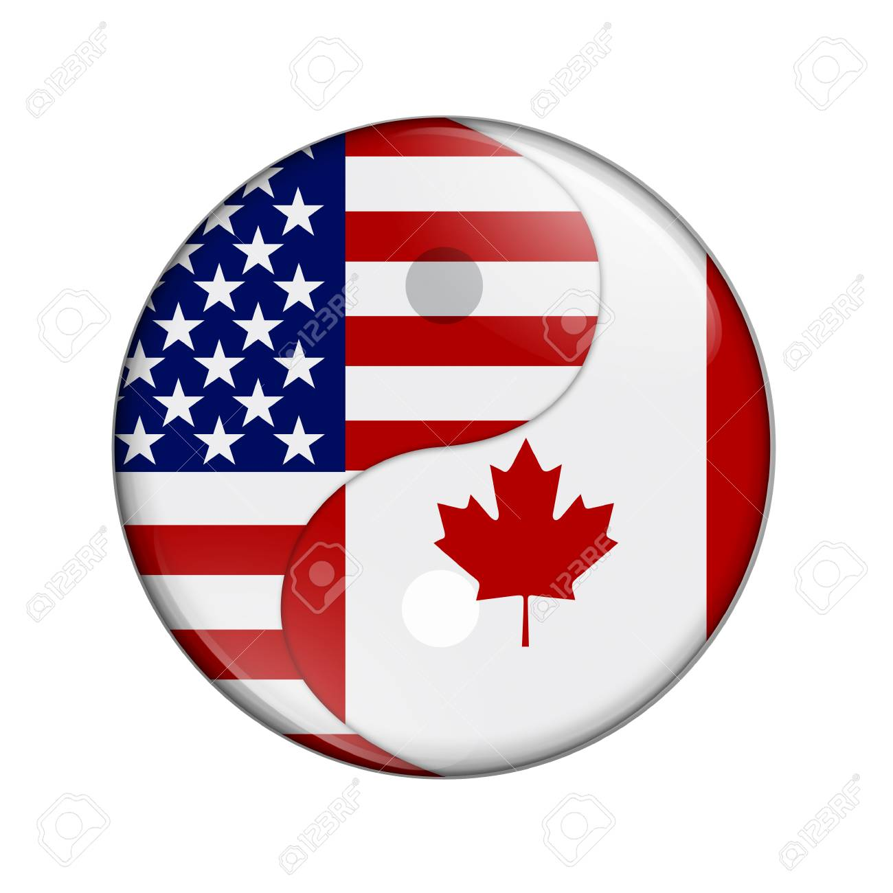Us and canadian flag stock photos royalty free business images usa and canada working together the us flag and canadian flag on a yin yang biocorpaavc Choice Image