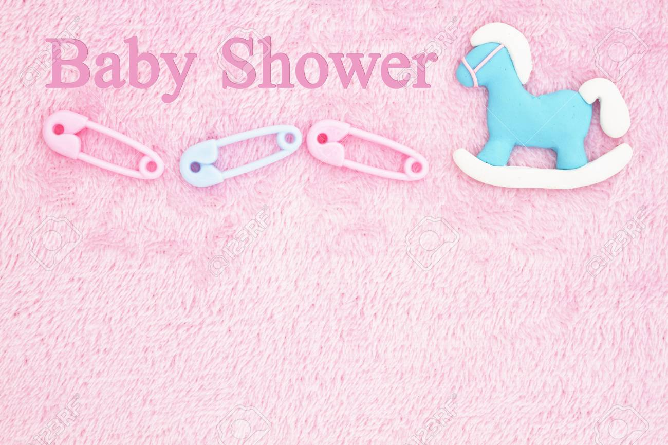 Old Fashion Pink Baby Shower Background With Baby Diaper Pins