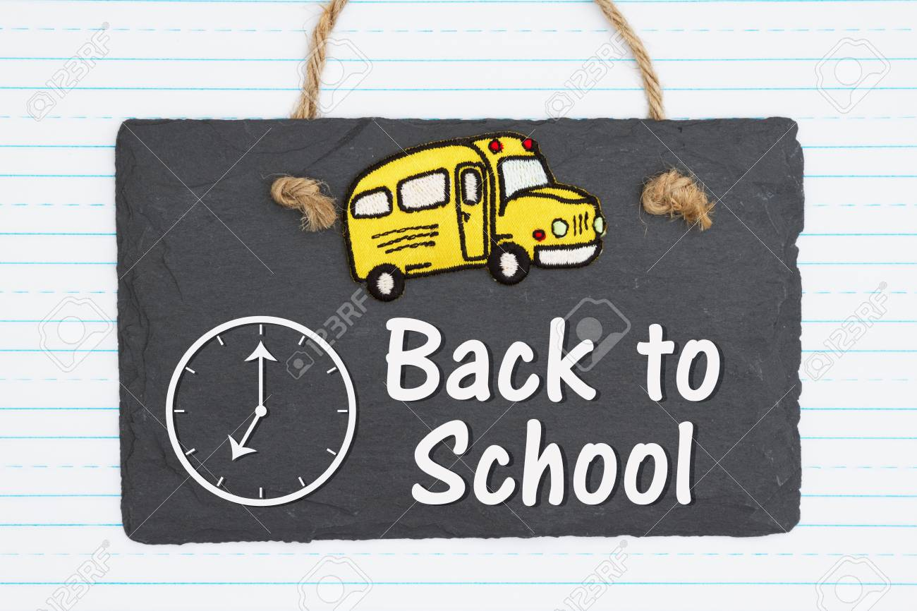 Back To School Hand Lettering Text And School Bus On Weathered