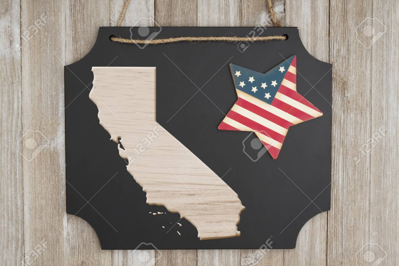 Wood Map Of The State Of California Usa On A Chalkboard With