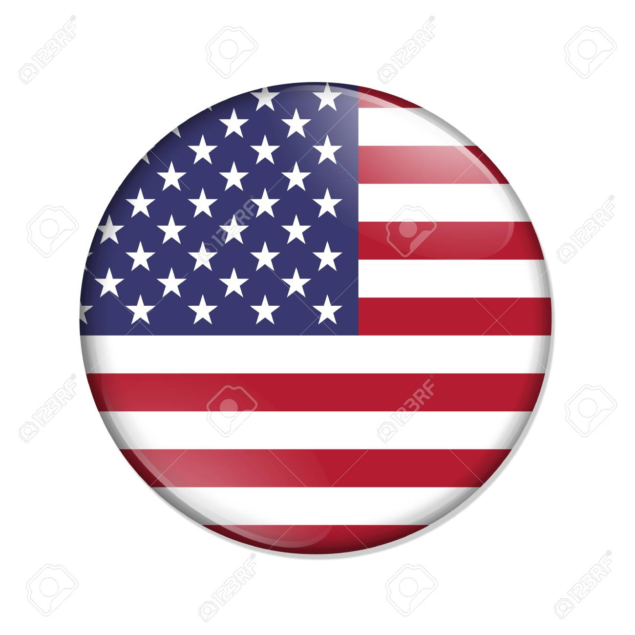 United States country on a flag badge button isolated over white - 124626687