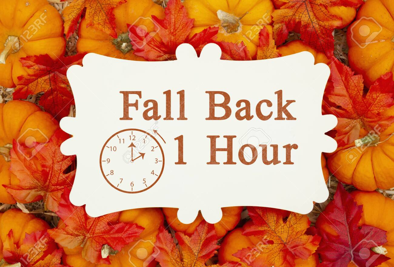 Fall Back 1 hour time change message on a metal sign on pumpkins and a straw hay - 132464124