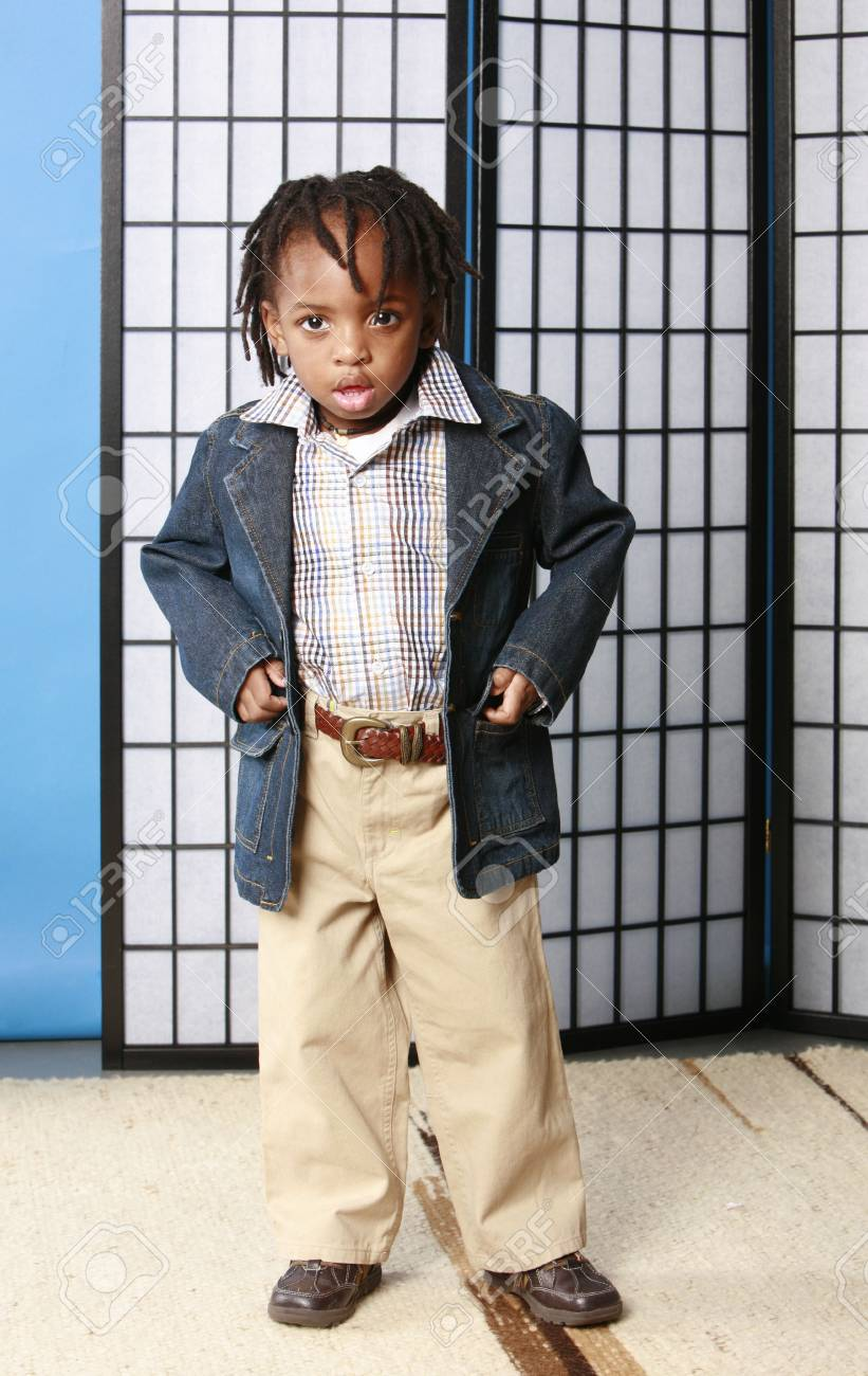 b210828801cf Little Boy In Cute Clothes Stock Photo