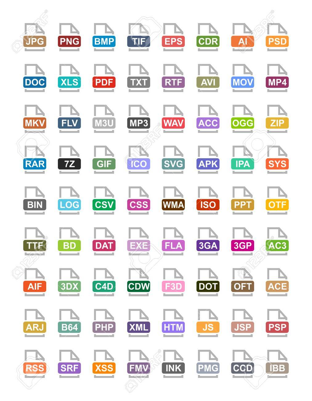 file extension flat vector icons archive vector audio image