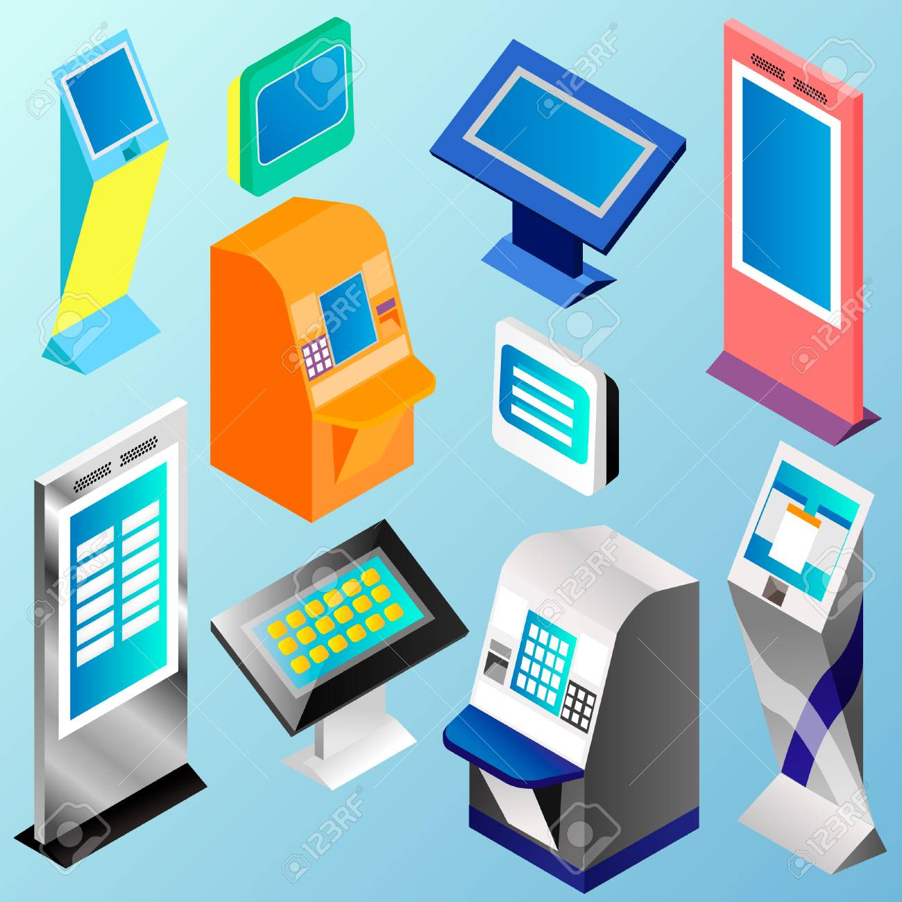 Isometric set vector online payment systems and self-service