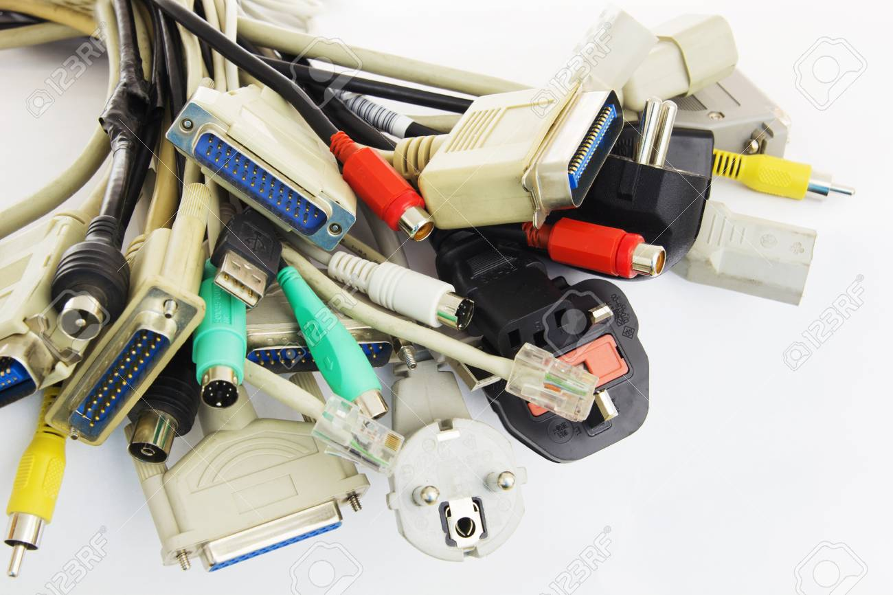 Bunch Of Computer Cables With Sockets On White Background. Stock ...