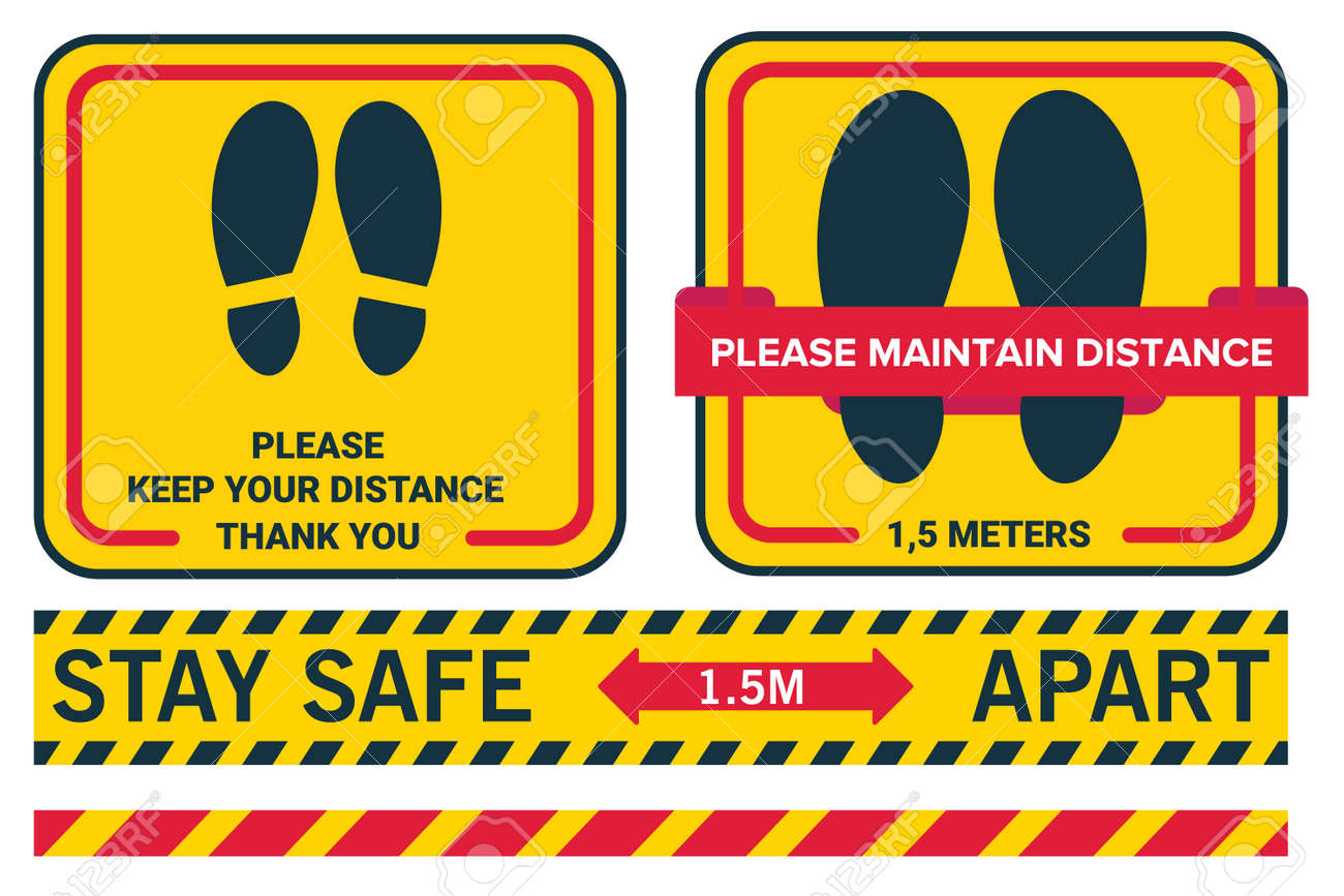 Social distancing avoid coronavirus covid19. Stay safe 1.5 meters apart. Please keep your distance. Line sticker floor. - 156111419
