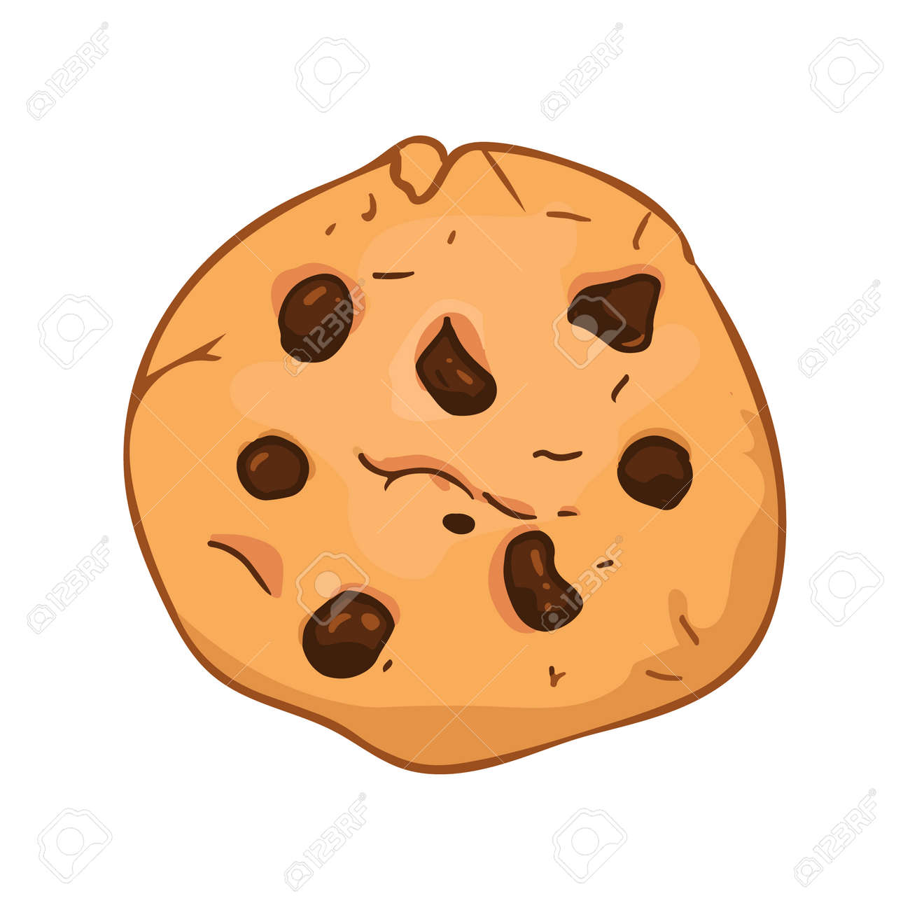 Chocolate chip cookie in cartoon style. Vector illustration - 168154799
