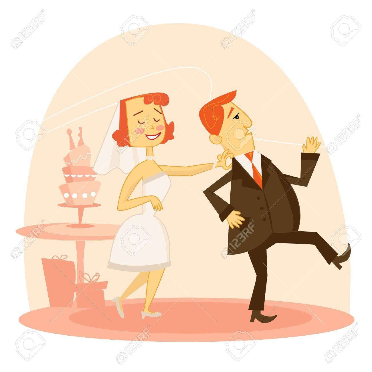 Cartoon wedding couple - 6294205