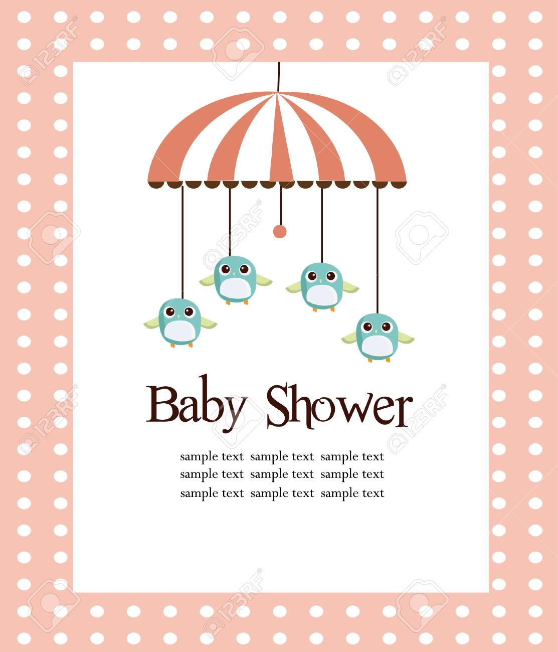 Baby shower card for girls illustration Stock Vector - 6798209