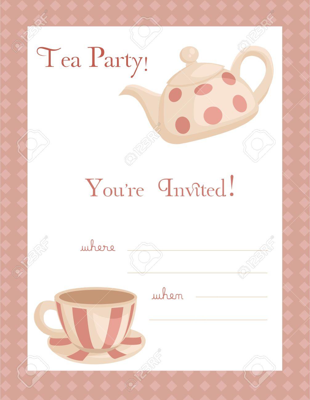 tee-party-einladung, mit platz für ihren text lizenzfrei nutzbare, Einladung
