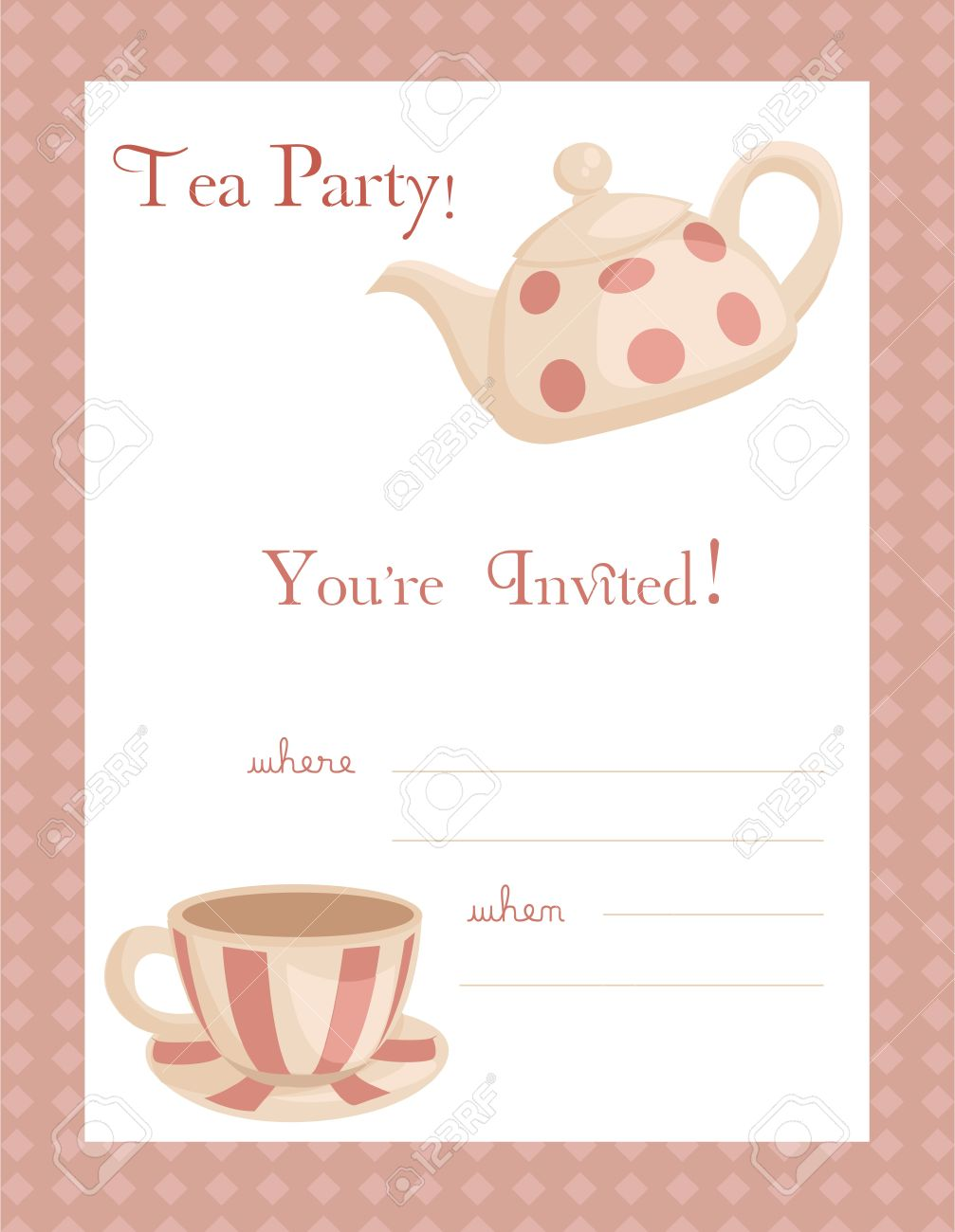 Tea Party Invitation, With Place For Your Text Royalty Free Cliparts ...