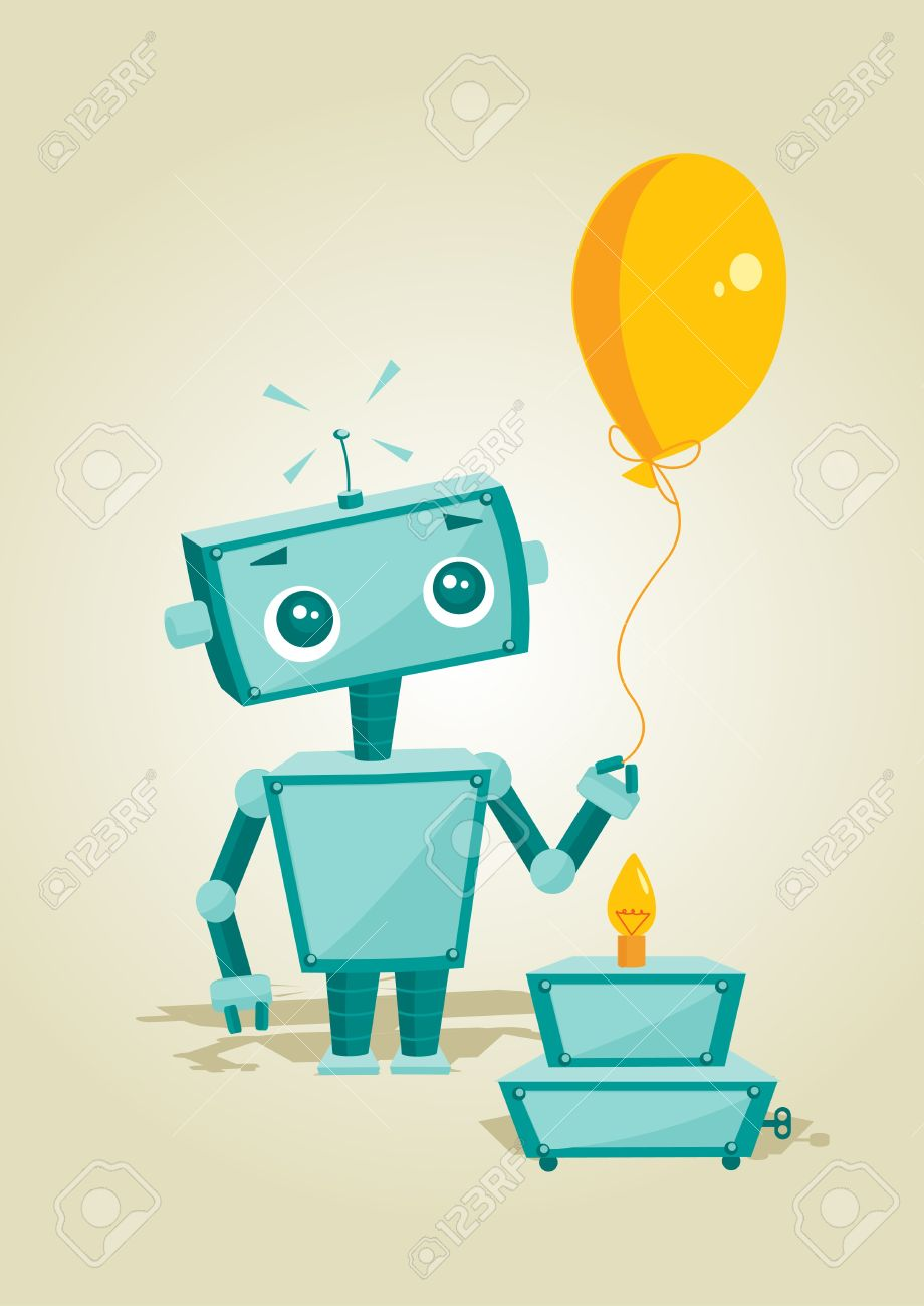Magnificent Cartoon Robot With Birthday Cake Illustration Royalty Free Personalised Birthday Cards Epsylily Jamesorg