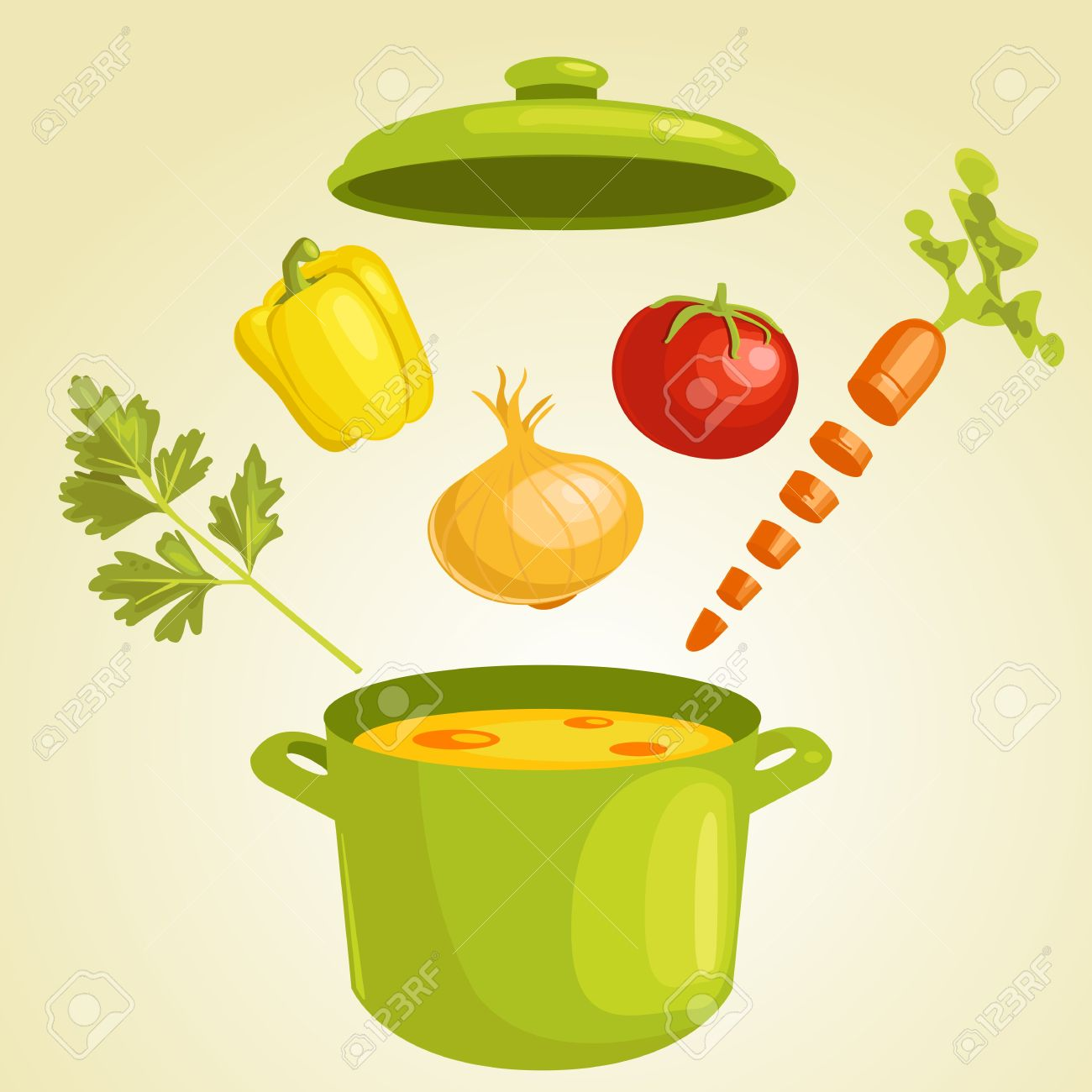 Vegetable soup with ingredients,  illustration Stock Vector - 9297522
