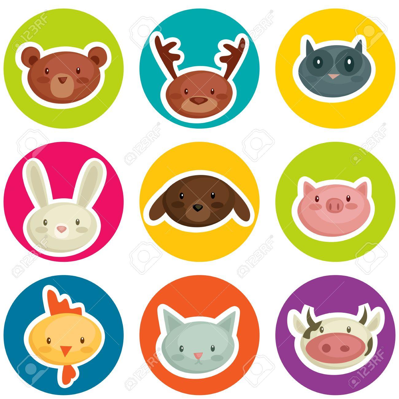cartoon animal head stickers, vector illustration Stock Vector - 10282589