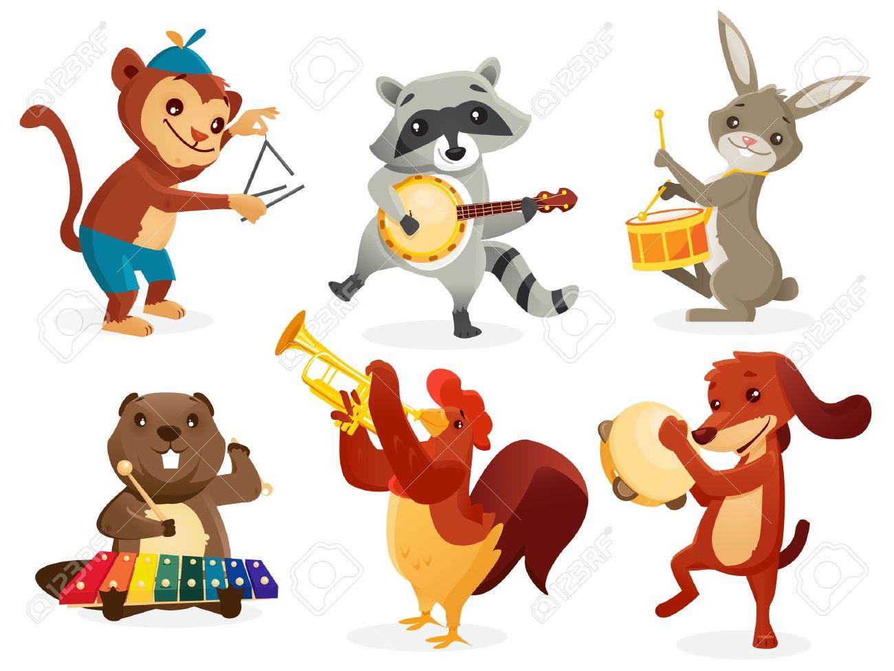 Animals playing intruments, vector illustration Stock Vector - 15799818