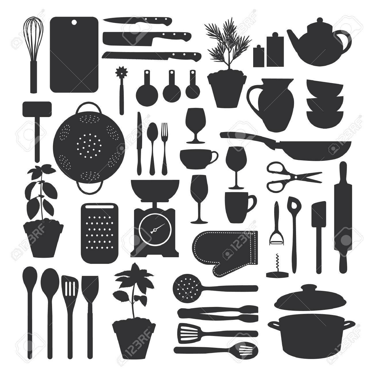 archivio fotografico set di strumenti da cucina isolato illustrazione vettoriale