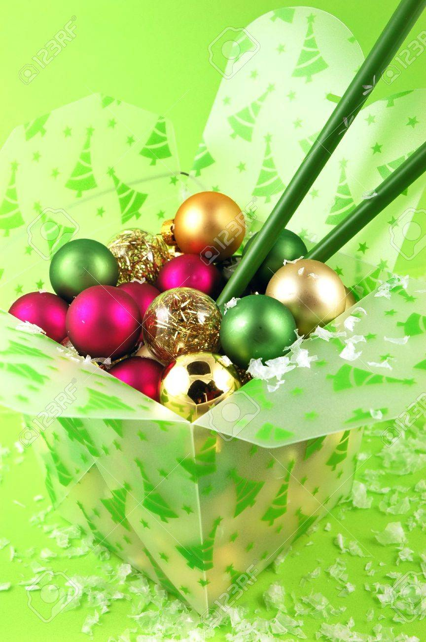Christmas Ornaments In A Take Out Food Container With Chopsticks