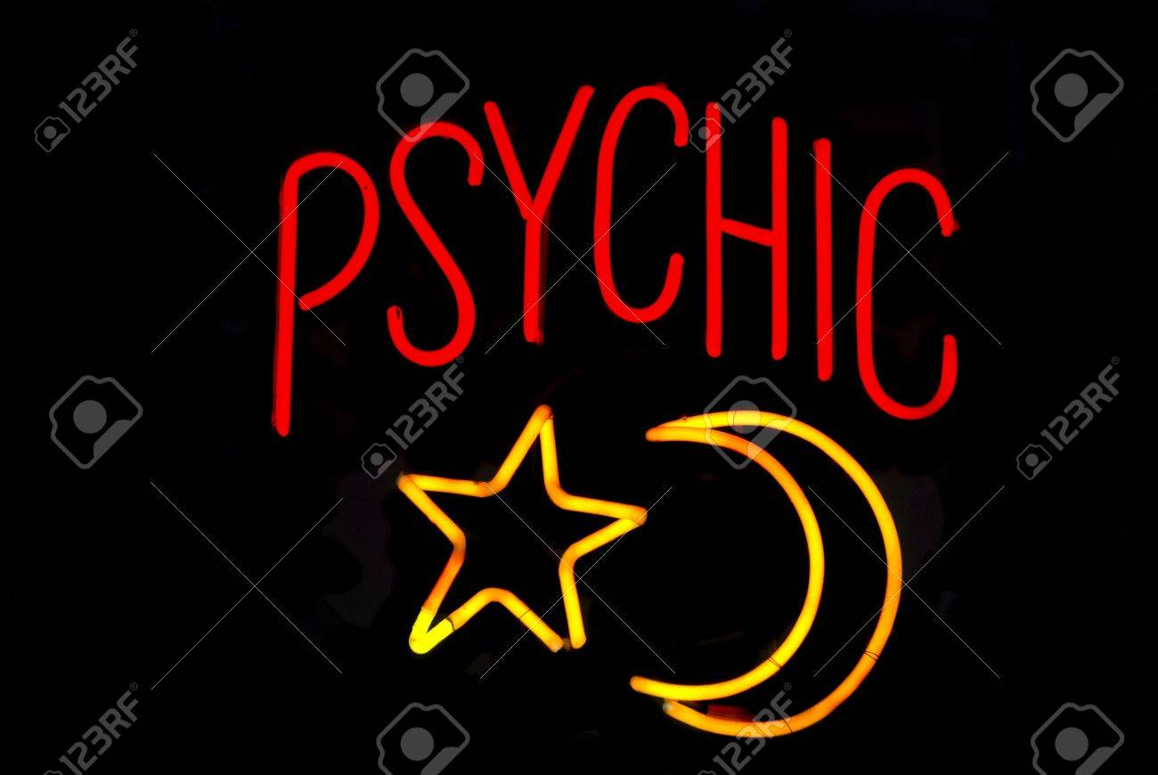 Psychic neon sign with moon and star Stock Photo - 2626644