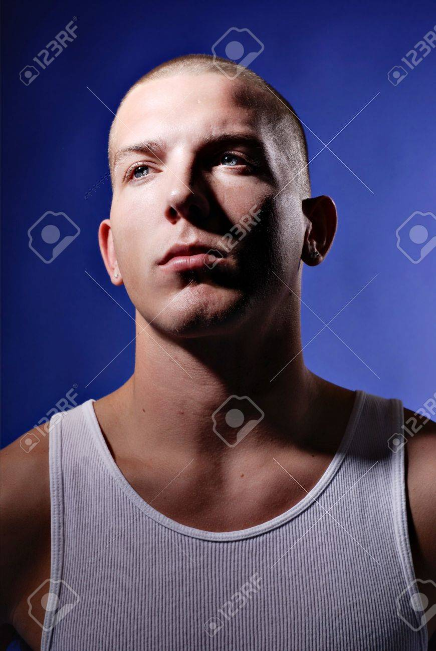 Head shaved young man Some Advice