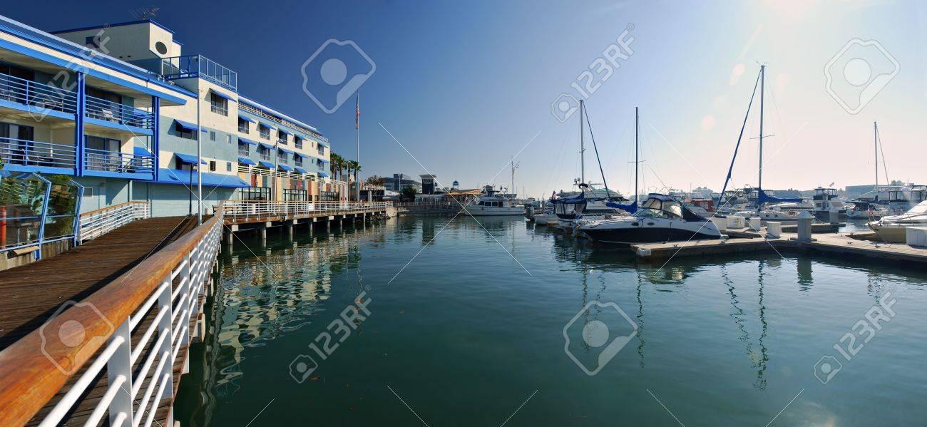 Panorama of the marina at Jack London Square, Oakland, Califorina - 3882523