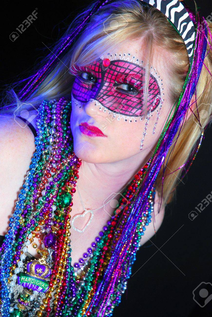Blonde woman dressed up for Mardi Gras party Stock Photo - 5760599