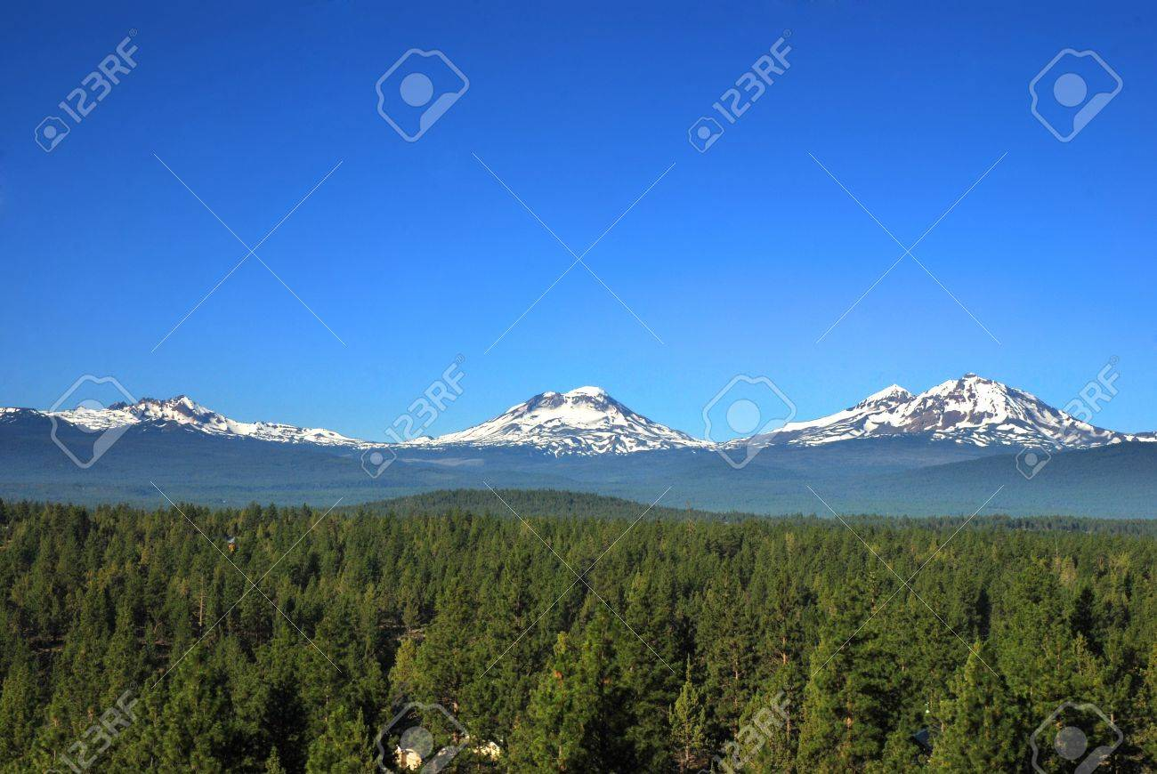 Three Sisters Mountains In Oregon United States Stock Photo - Mountains in the united states