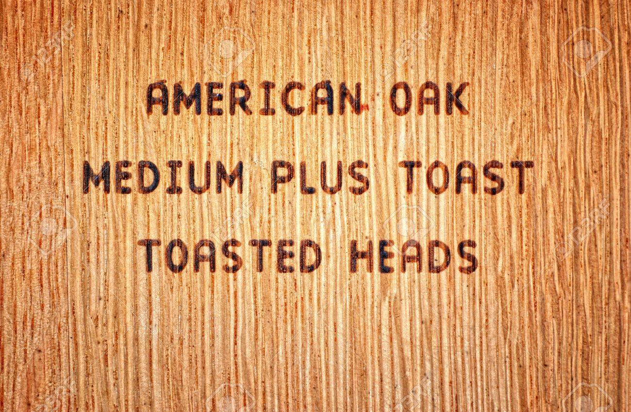 Wood Burned Stamp On American Oak Wine Barrel Stock Photo Picture