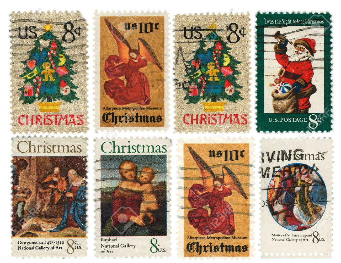 Christmas Stamps.Collection Of Vintage Christmas Postage Stamps