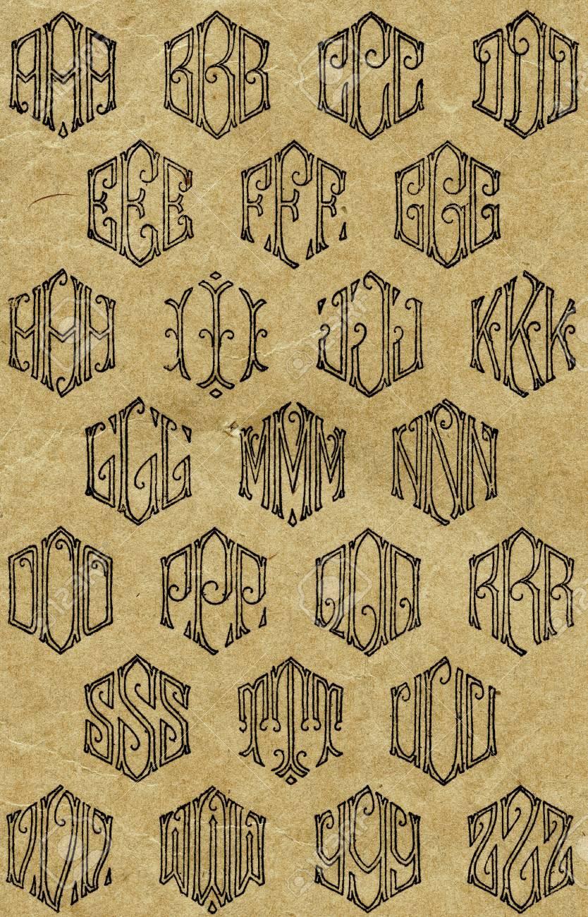 Blatt Vintage Monogramm-Muster Für Das Nähen Lizenzfreie Fotos ...